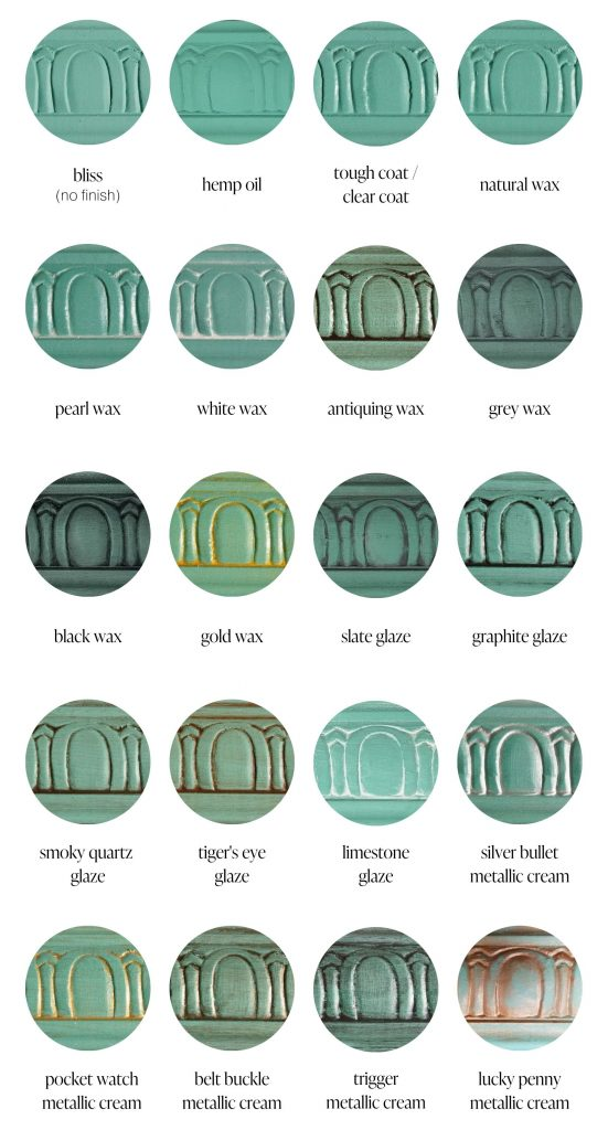Bliss teal furniture paint sample swatches of various furniture sealants and specialty products