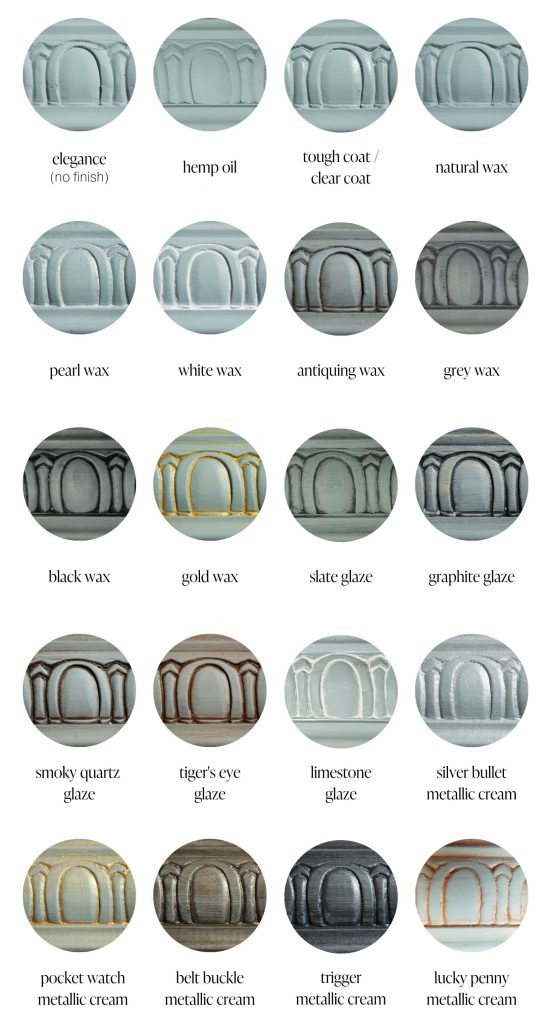 Elegance dusty blue furniture paint sample swatches of various furniture sealants and specialty products