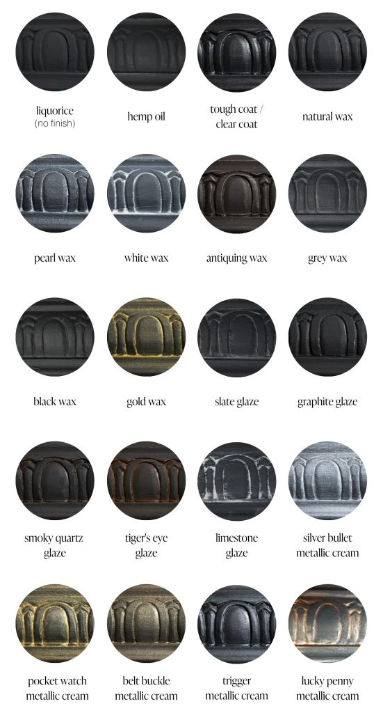 Liquorice black furniture paint sample swatches of various furniture sealants and specialty products