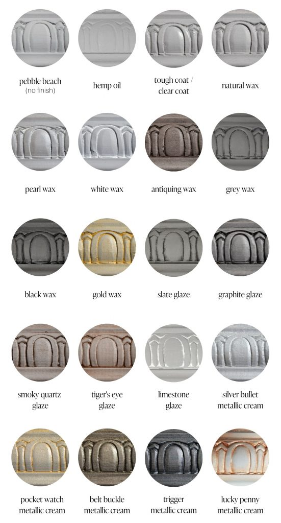 Pebble Beach grey furniture paint sample swatches of various furniture sealants and specialty products