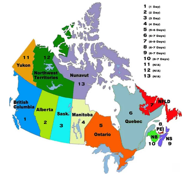 Image of Canadian shipping times by province.