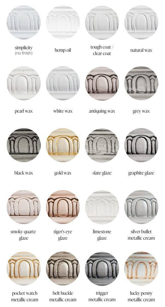 Simplicity pure white furniture paint sample swatches of various furniture sealants and specialty products