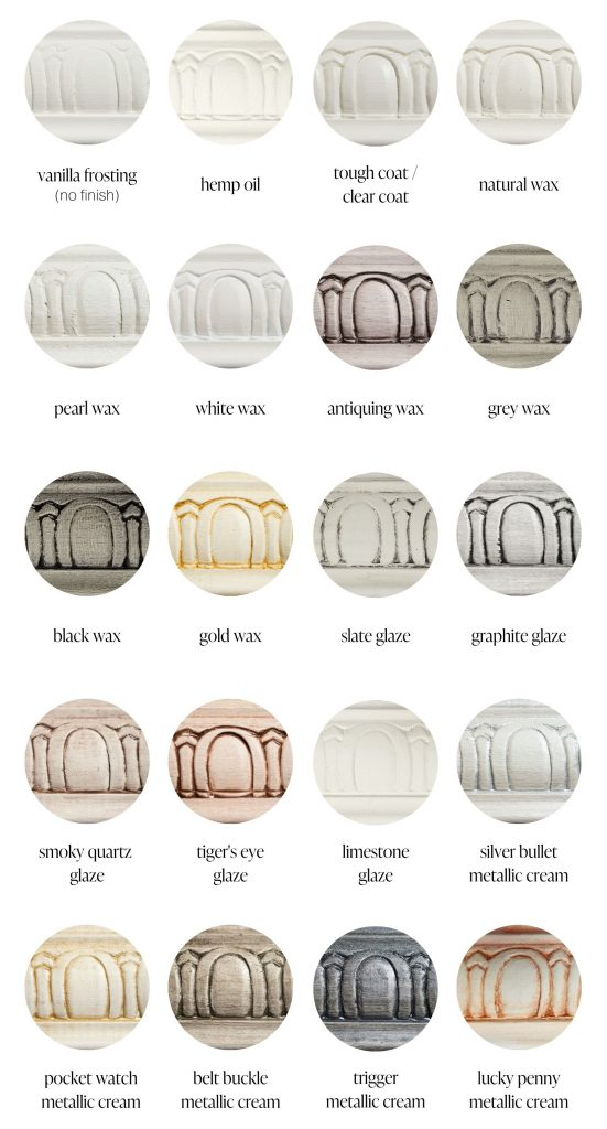 Vanilla Frosting off white furniture paint sample swatches of various furniture sealants and specialty products